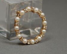 VINTAGE ANTIQUE PEARL and DIAMOND CLASSIC CIRCLE PIN 14KT YELLOW GOLD PIN