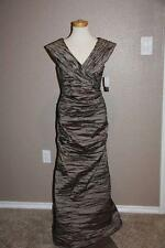 NWT Alex Evenings 6 Taupe Crinkle Taffeta Rouched Formal Gown Mermaid Party