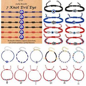 6Pcs Lucky String Evil Eyes Bracelet Bangle Paper Card Knots Jewelry Fashion