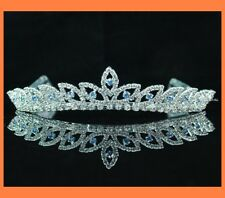 BRIDAL BLUE AUSTRIAN RHINESTONE TIARA WITH HAIR COMB WEDDING BRIDAL H303B