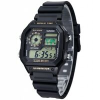 Casio AE1200WH-1B Mens Black Resin Digital Sports Watch 100M 5 Alarms NEW