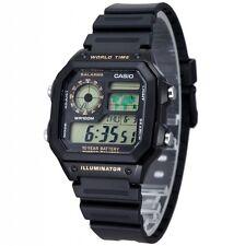 Casio AE1200WH-1B Mens Black Resin Digital Sports Watch 100M 5 Alarms NEW