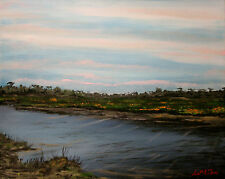 THOM ORIGINAL OIL PAINTING 20X16 FLORIDA MARSH ON A STORMY SUMMER DAY