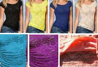 Women's Girls Lace Knit Short Sleeve Tops Blouse Sizes M6-8, L10-12 BNWT