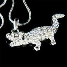 w Swarovski Crystal Gator Wild ~CROCODILE alligator Charm Pendant Chain Necklace