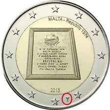 """2 euro MALTA 2015  """"Repubblica 1974"""" con segno di zecca Olandese di Utrecht RARA"""