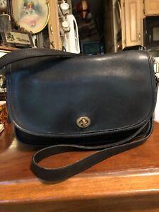 Vintage Coach 9790 Black Leather Crossbody City Bag Purse