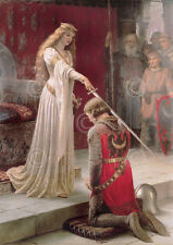 Edmund Leighton The Accolade Medieval Knight Queen Romantic Print Poster 24x36