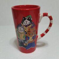 Catzilla Christmas Carol Mug Red Hand Painted Tall Coffe Candace Reiter