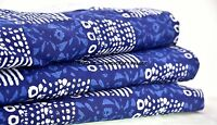 Indian Vintage 100% Pure Cotton Blue Abstract Printed Craft 10 Yard Fabric Hippy