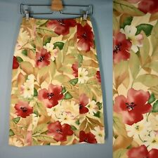 NWT TALBOTS A-Line Skirt 4 Silk Cotton Floral Below Knee Lined Small New $108