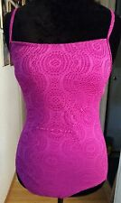 CATALINA Crochet Fuschia One Piece Swimsuit Orchid Burst Lined Adjustable Sz 4-6