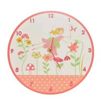 Pink Fairy Garden Wall Clock Gisela Graham Baby Girl Nursery Shabby Chic Cute