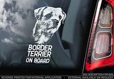 Border Terrier - Car Window Sticker -  Dog on Board Sign Art Gift