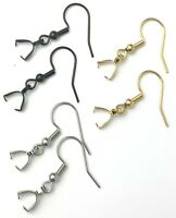 Black, Gold, or Silver Stainless Steel French Hooks Pinch Bail Bails Earrings