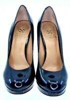 Vince Camuto Sarika Pumps Womens Sz 6 B Black Patent Slip On Platform Heel Shoes