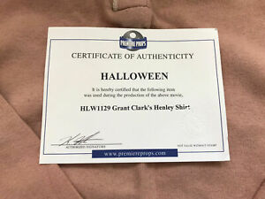 Extremely Rare! Halloween Original Screen Used Grant Clark Shirt Movie Prop
