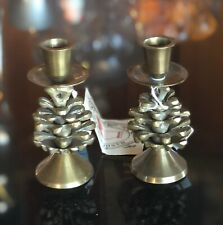 Pair Midwest of Cannon Falls Pine Cone Brass Candle Sticks Holders Cabin Decor