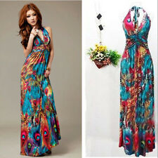 Sexy Women Summer Boho Halter V-Neck Maxi Evening Party Beach  Dress Skirt PM
