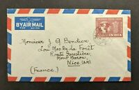 1952 Bombay India Airmail Cover to Nice France SG 328 12 Annas