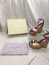 * Jimmy Choo * Gleam Cork Purple Multi Floral Wedge Sandals Shoes 9.5/40 NWB
