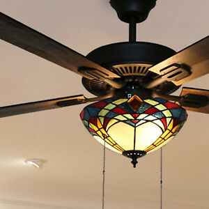 Copper Grove Thionville 5-Blade Bronze And Stained Glass Ceiling Fan