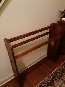 Vintage Wood Quilt Display Rack with Heart Accents