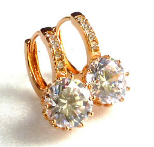 Women 18K Yellow Gold Plated Clear Cubic Zirconia CZ Huggie Hoop Earrings