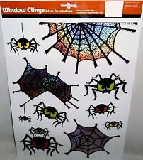 Halloween Window Clings COLORFUL SPIDERS AND WEBS
