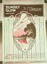 Fw Vandersloot Sunset Glow Waltzes Piano Solo Antique Sheet Music 1916