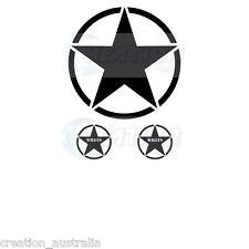 3 SET WILLYS JEEP WRANGLER MILITARY STAR HOOD BONNET MATT BLACK STICKERS DECALS