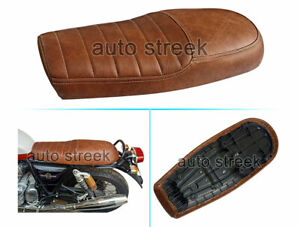 Royal Enfield GT & Interceptor 650 Brown Genuine Leather Dual Seat