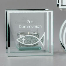 """☼ Formano Windlicht  """"Zur Kommunion"""" Teelichthalter ca. 10x10x6 cm Tischdeko A"""