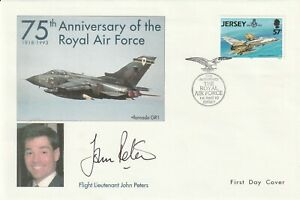 JERSEY 1993 RAF FIRST DAY COVER HAND SIGNED BY EX GULF WAR POW JOHN PETERS SHS a