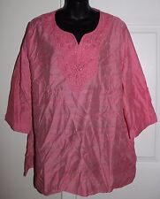 Hasting & Smith Women 2x Pink Semi Sheer Beaded Neckline 3/4 Slv Blouse Beach