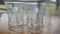Etched Juice glases elegant flat bottom 4 6 oz juice glasses