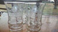Etched Juice glases elegant flat bottom 4 6 oz juice glasses