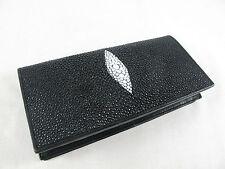 Genuine Stingray Skin Leather Bifold Checkbook Card Wallet Black + FREE SHIPPING