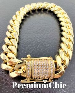Mens Miami Cuban Link Bracelet Diamond Clasp 14k Gold Plated Stainless Steel