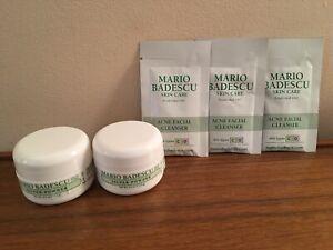 Mario Badescu 3x Acne Facial Cleanser samples + 2x Silver Powder 0.50oz NWOB