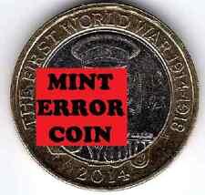 2014 £ 2 I Guerra Mundial ** ** dos libras moneda error mula caza 28/32 Raro Bi-Metal 2 un