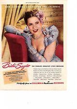 1946 vintage music opera Ad, Bidu Sayao Soprano on Columbia Records