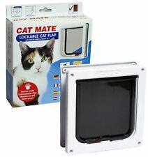 Pet Mate Lockable Cat Door Flap 2 Way Locking 234W White + Trimmable Door Liner