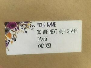 Personalised business or personal address labels floral and other designs packs