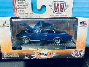 1/64 M2 DETROIT MUSCLE 1966 DODGE CHARGER 383 BLUE WITH BLACK TOP