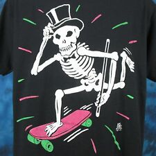 vintage 80s SKATEBOARD SKELETON TUX CARTOON T-Shirt LARGE skate skull punk thin
