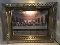 Vintage The Last Supper Lighted Picture - Metal Frame Underwriters Laboratories