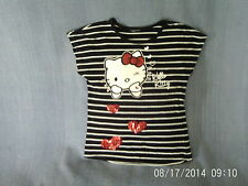 Girls 5-6 Years - Black & White Striped T-Shirt, 'Hello Kitty' Motif