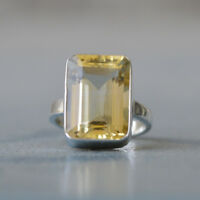 Cushion Faceted Natural Citrine Gemstone 925 Sterling Silver Gift Ring Size 7