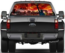 US American Flame Flag 9/11 NY Libery Statue Window Graphic Decal  Truck